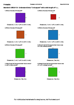 Worksheet for 3.MD.5-1.0 - Understand that a unit square with a side length of 1