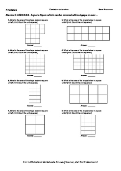 Worksheet for 3.MD.5-2.0 - A plane figure which can be covered without gaps or o