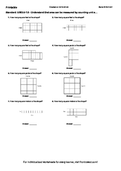 Worksheet for 3.MD.6-1.0 - Understand that area can be measured by counting unit