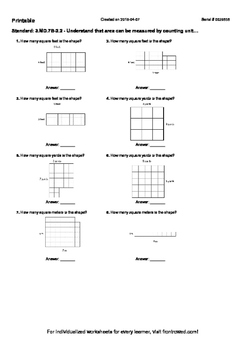 Worksheet for 3.MD.7B-2.2 - Understand that area can be measured by counting un