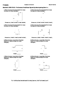 Worksheet for 3.MD.7D-2.0 - Find areas of rectilinear figures by decomposing the