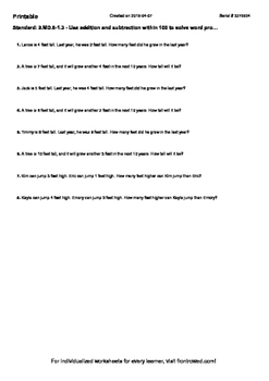 Worksheet for 3.MD.8-1.3 - Use addition and subtraction within 100 to solve word
