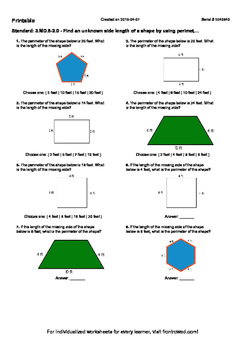 Worksheet for 3.MD.8-2.0 - Find an unknown side length of a shape by using peri