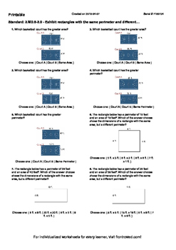 Worksheet for 3.MD.8-3.0 - Exhibit rectangles with the same perimeter and differ