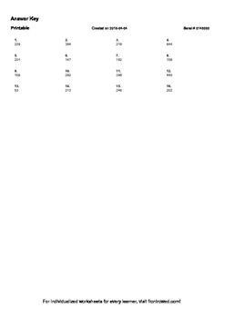 Worksheet for 3.NBT.2-2.1 - Subtract within 1000, using concrete models or drawi