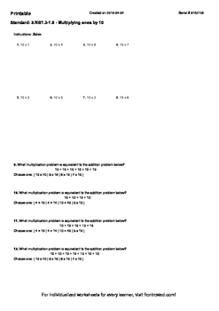 Worksheet for 3.NBT.3-1.5 - Multiplying ones by 10