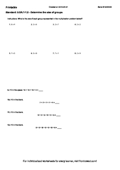 Worksheet for 3.OA.1-1.2 - Determine the size of groups