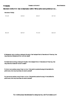 Worksheet for 3.OA.3-1.0 - Use multiplication within 100 to solve word problems