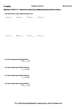 Worksheet for 3.OA.4-1.1 - Determine product by substituti