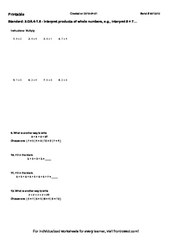 Worksheet for 3.OA.4-1.5 - Interpret products of whole numbers, e.g., interpret