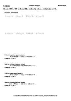Worksheet for 3.OA.4-2.3 - Understand the relationship bet