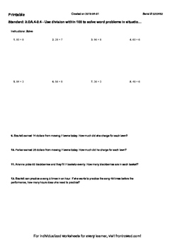 Worksheet for 3.OA.4-2.4 - Use division within 100 to solve word problems in sit