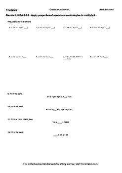 Worksheet for 3.OA.5-1.0 - Apply properties of operations as strategies to multi