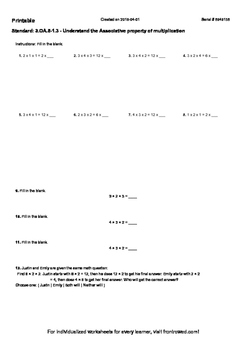 Worksheet for 3.OA.5-1.3 - Understand the Associative property of multiplication