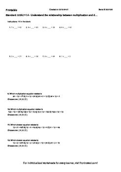 Worksheet for 3.OA.7-1.4 - Understand the relationship bet