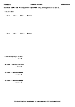 Worksheet for 3.OA.7-2.0 - Fluently divide within 100, using strategies such as