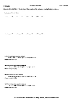 Worksheet for 3.OA.7-2.6 - Understand the relationship bet