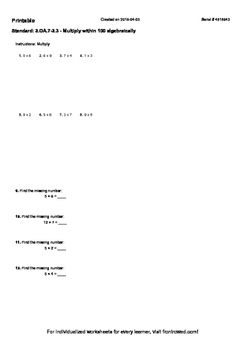 Worksheet for 3.OA.7-3.3 - Multiply within 100 algebraically