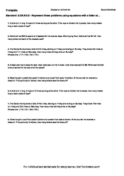 Worksheet for 3.OA.8-2.0 - Represent these problems using