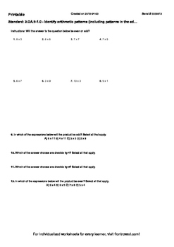 Worksheet for 3.OA.9-1.0 - Identify arithmetic patterns (including patterns in t