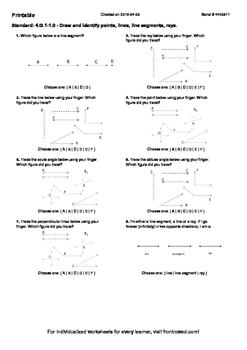 Worksheet for 4.G.1-1.0 - Draw and Identify points, lines, line segments, rays