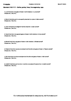 Worksheet for 4.G.1-1.1 - Define points, lines, line segments, rays