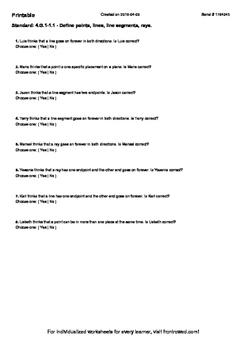 Worksheet for 4.G.1-1.1 - Define points, lines, line segme