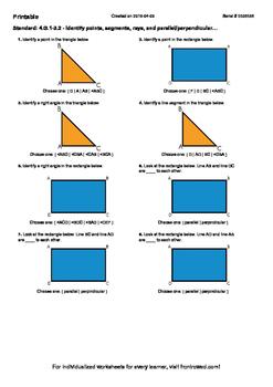 Worksheet for 4.G.1-3.2 - Identify points, segments, rays,