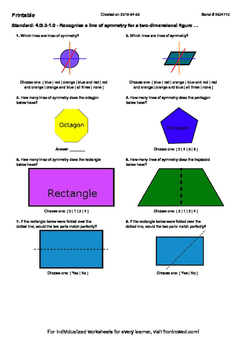 Worksheet for 4.G.3-1.0 - Recognize a line of symmetry for a two-dimensional fig