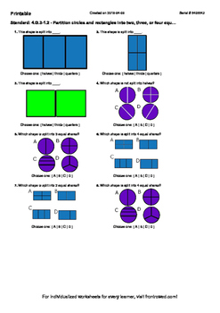 Worksheet for 4.G.3-1.2 - Partition circles and rectangles into two, three, or f
