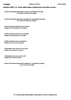 Worksheet for 4.MD.1-1.0 - Know relative sizes of measurement units within one s