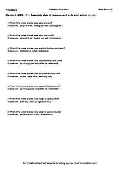 Worksheet for 4.MD.1-1.1 - Associate sizes of measurement