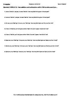 Worksheet for 4.MD.2-1.2 - Use addition and subtraction within 100 to solve word