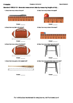 Worksheet for 4.MD.2-1.5 - Generate measurement data by me