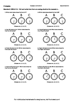 Worksheet for 4.MD.2-1.6 - Tell and write time from an analog clock to the neare