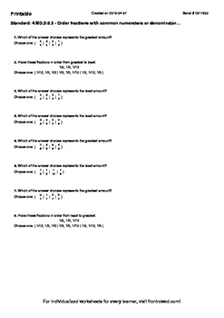 Worksheet for 4.MD.2-2.3 - Order fractions with common numerators or denominator