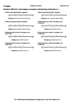 Worksheet for 4.MD.2-2.4 - Demonstrate a conceptual understanding of decimals in
