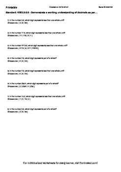 Worksheet for 4.MD.2-2.5 - Demonstrate a working understanding of decimals as p