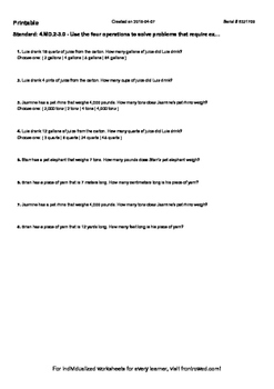 Worksheet for 4.MD.2-3.0 - Use the four operations to solve problems that requir