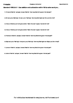 Worksheet for 4.MD.2-3.1 - Use addition and subtraction within 100 to solve word
