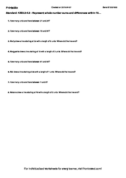 Worksheet for 4.MD.2-4.2 - Represent whole-number sums and differences within 10