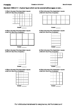 Worksheet for 4.MD.3-1.1 - A plane figure which can be covered without gaps or o