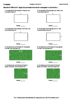 Worksheet for 4.MD.3-2.0 - Apply the perimeter formula for rectangles in real wo
