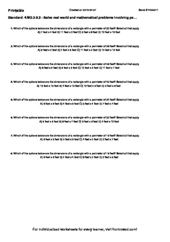 Worksheet for 4.MD.3-2.2 - Solve real world and mathematical problems involving