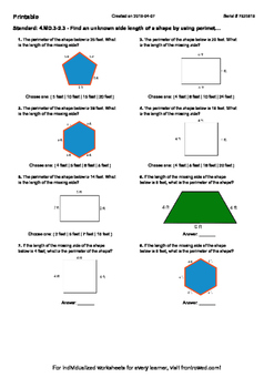 Worksheet for 4.MD.3-2.3 - Find an unknown side length of a shape by using perim