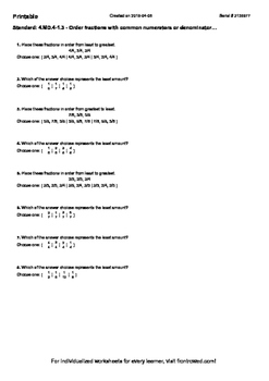 Worksheet for 4.MD.4-1.3 - Order fractions with common numerators or denomin