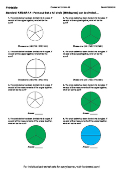 Worksheet for 4.MD.5A-1.4 - Point out that a full circle (360 degrees) can be di
