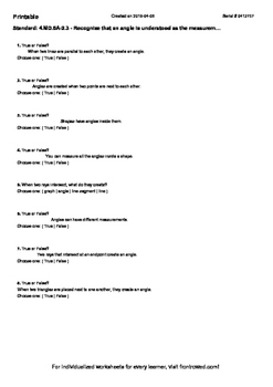 Worksheet for 4.MD.5A-2.3 - Recognize that an angle is und