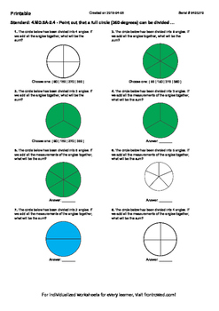 Worksheet for 4.MD.5A-2.4 - Point out that a full circle (360 degrees) can be di