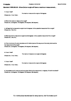 Worksheet for 4.MD.5A-2.5 - Show that an angle will have a